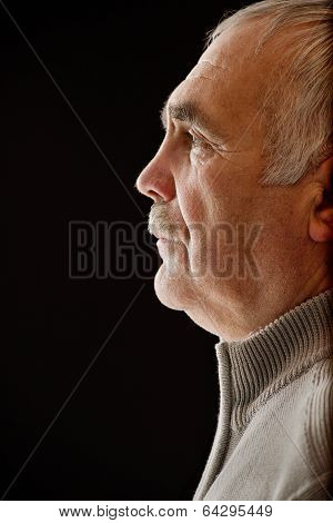 Beautiful Portrait Of A Pensive Senior Man