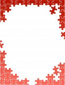 stock photo of assemblage  - red puzzle pieces border template illustration design over a white background - JPG