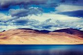 picture of jammu kashmir  - Vintage retro effect filtered hipster style travel image of Himalayan mountain lake in Himalayas Tso Moriri - JPG