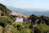pic of pueblo  - View of the town and surrounding countryside pueblo blanco Algatocin Costa del Sol Malaga Province Andalucia Spain Western Europe - JPG