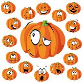stock photo of angry smiley  - pumpkin cartoon with many expressions isolated on white - JPG