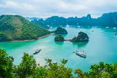 picture of southeast  - Scenic view of islands in Halong Bay Vietnam Southeast Asia - JPG