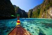 image of koh phi-phi  - Traditional longtail boat in pile bay on Koh Phi Phi Leh Island Krabi Southern of Thailand - JPG
