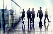 picture of city silhouette  - Silhouettes of Business People in Blurred Motion Walking - JPG