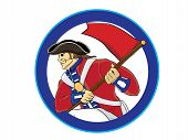 pic of revolutionary war  - vector illustration  of american revolution war soldier with a flag - JPG