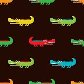 picture of crocodiles  - Seamless crocodile for kids fabric background pattern in vector - JPG