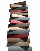 image of leather-bound  - A single pile of generic unbranded leather bound books on an isolated studio background - JPG