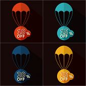 foto of parachute  - Set of parachutes with discount on black background - JPG