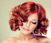 pic of wig  - Beautiful model with red curly hair  - JPG
