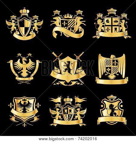 Heraldic golden emblems