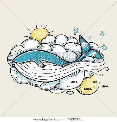 Romantic Whale Swimming in Clouds Retro Design