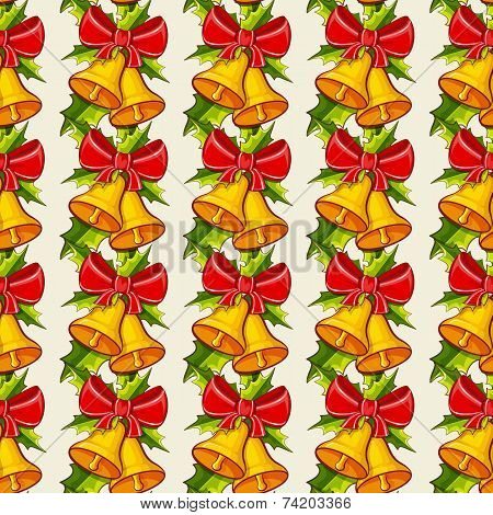 Christmas Background With Bells. Vector Seamless Pattern.