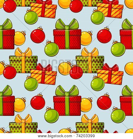 Christmas Background With Baubles And Gifts. Vector Seamless Pattern.