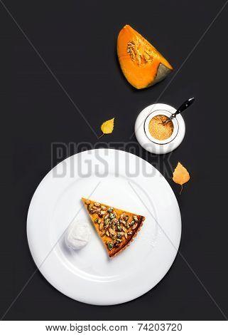 Pumpkin Pie. Homemade Delicious Piece Of Pumpkin Pie Made For Thanksgiving. Studio Shot For Restaura