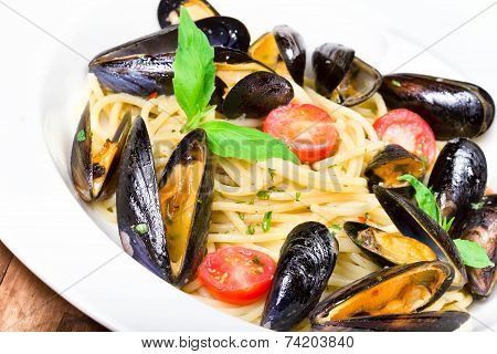 Pasta With Mussels And Basil For A Tasty Sea Food Meal Macro