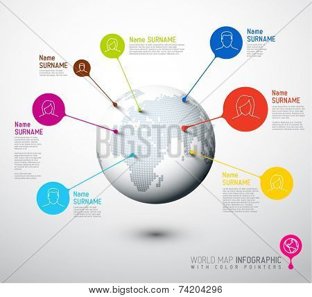 Light World map globe with people pointer marks -  communication concept