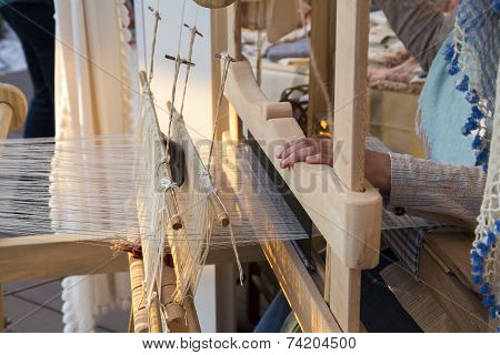 Turkish Woman Hands Weaving Traditional Carpet Closeup