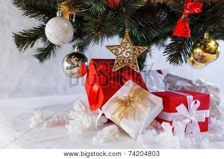 Christmas presents under the fir tree