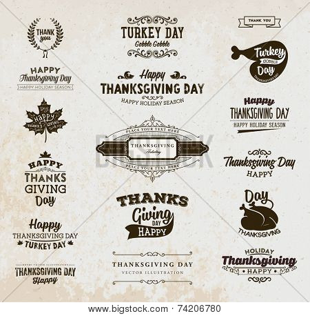 Set of Thanksgiving Day Labels. Holiday Designs. Vintage Paper Background.