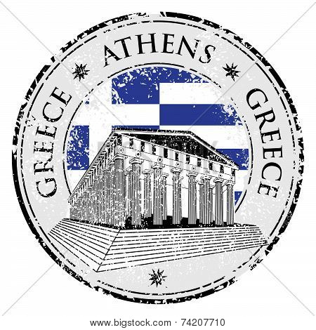 Blue Grunge Rubber Stamp With The Parthenon Shape From Greece And The Name Greece Written Inside The