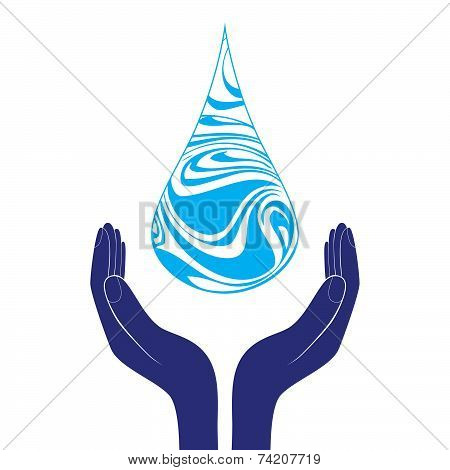 Save Water Sign Icon. Hand Holds Water Drop Symbol. Environmental Protection Symbol.  Vector