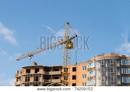 Construction Of The New Brick Building By Means Of The Elevating