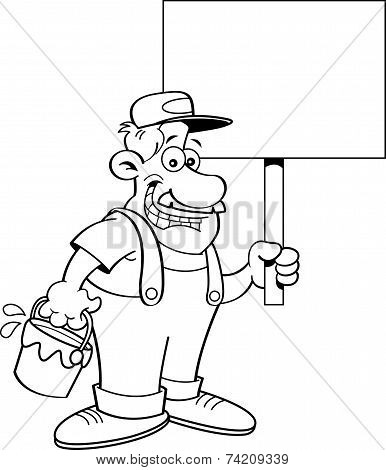 Cartoon Painter Holding a Sign
