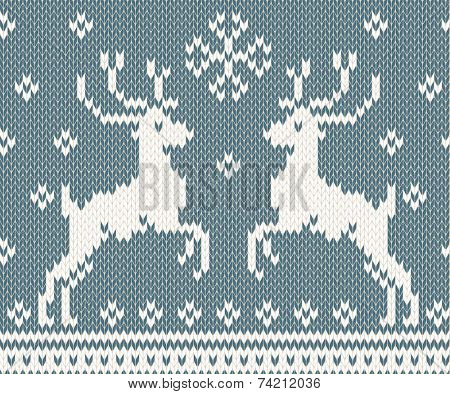 Winter seamless background with knitted deers