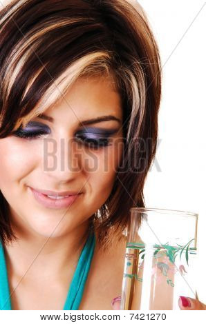 Young Woman With A Glass Of Water.