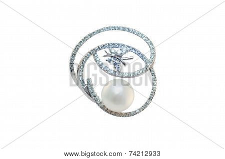 golden brooch with pearl and jewel on a white background