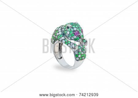 golden ring with emeralds and diamonds