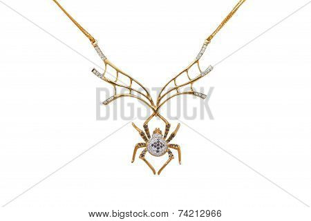 golden spider, necklace on a white