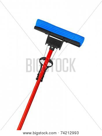 Mop with sponge isolated on white background