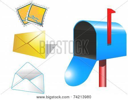 Mailbox, Envelope, Stamps