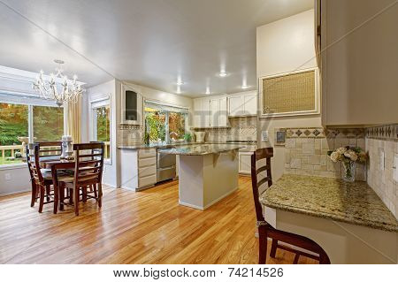 White Kitchen Room With Dining Table Set