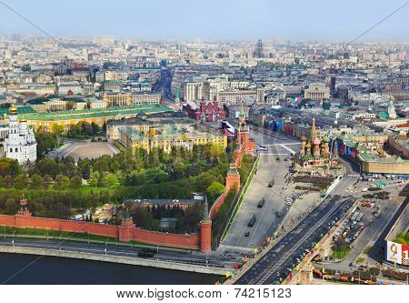 Parade of victory day at Moscow Kremlin - aerial view