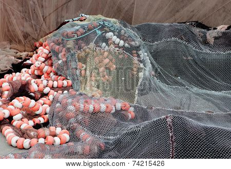 Detail of an old traditional fishing net