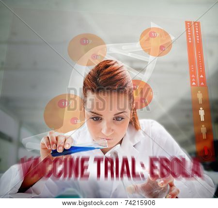 Scientist pouring liquid into erlenmeyer with futuristic screen showing DNA behind her