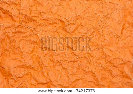Texture Of Wrinkled Orange Paper