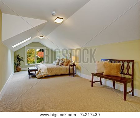 Spacious Bedroom With Vaulted Ceiling And Light Mint Walls