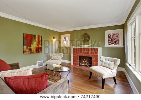 Olive Tone Family Room With Fireplace