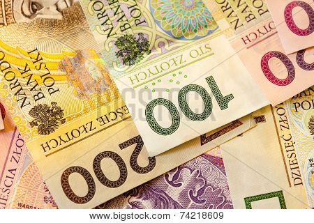 Polish Zloty Banknotes  As Background
