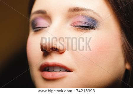 Part Of Woman Face Eyes With Eyeshadow Makeup Detail.