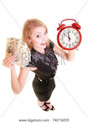 Woman Holding Polish Money Banknote And Alarm Clock.