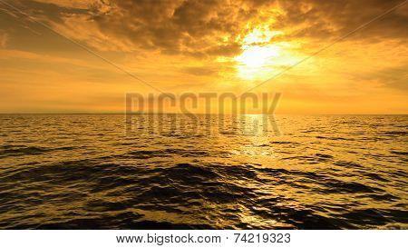Beautiful Seascape Evening Sea Horizon And Sky.