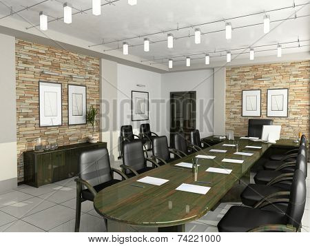 cabinet of the director furniture office negotiations 3D interior