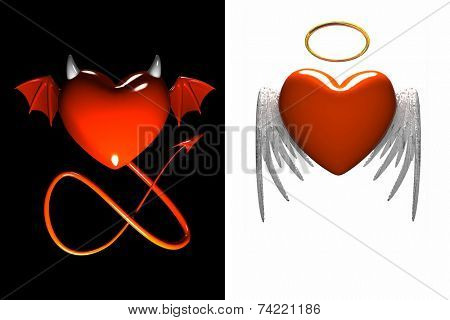 Red heart-devil and red heart-angel with wings isolated