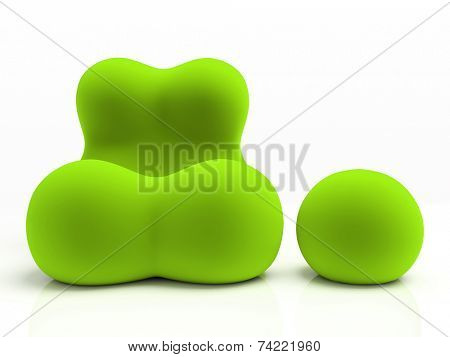 Green armchair and padded stool isolated on white background