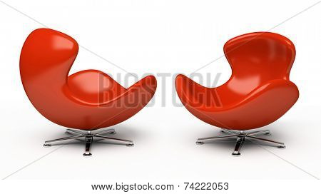 Leather red armchair (right and left view) isolated on white background