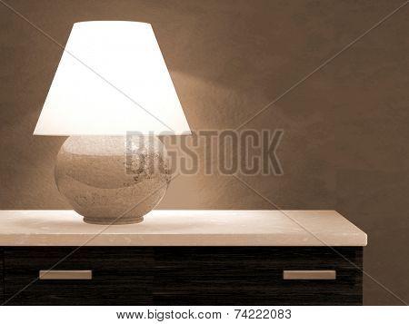 Lamp on bureau 3D rendering